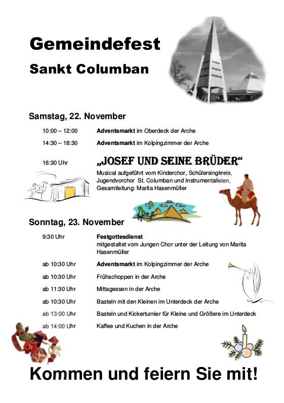 Programm für das Columbansfest 2014